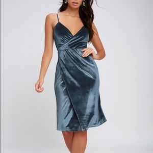 Lulus Honey Love Light Blue Velvet Wrap Dress